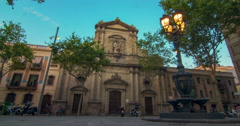 Travel landmarks of Barcelona at sunset. Theater facade in Barcelona, Spain Stock Footage