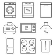 Kitchen appliance icons Stock Illustration