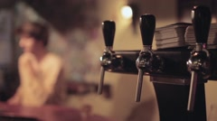 Beer Tap Handles In The Bar Stock Footage