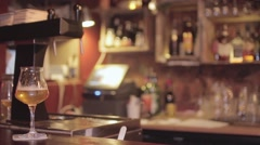 Glass Of Beer At Bar Counter Stock Footage