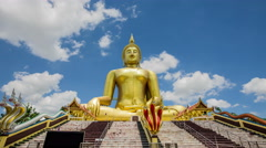 Temple Wat Muang big golden statue Stock Footage
