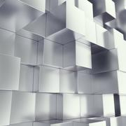 Metal cubes abstract background with depth of field effect. 3d illustration Stock Illustration