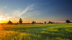 4k timelapse of beautiful summer green fields under sunset sky. Stock Footage