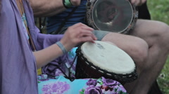 Congo drummer performing in nature - stock footage