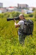 Wild life professional photographer - stock photo