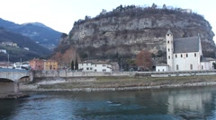 Sant'Apollinare Church and Adige River, Trento, Northern Italy Stock Footage