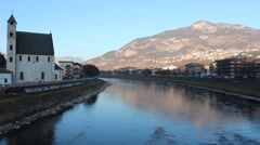 Sant'Apollinare Church and Adige River Trento Northern Italy Stock Footage