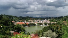 View to the historical part of the city with low clouds in Kandy, Sri Lanka. Stock Footage