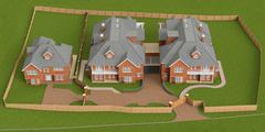 Street residential cottage, homes, top view - stock illustration