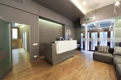 Lobby entrance with reception desk in a dental clinic. Stock Photos
