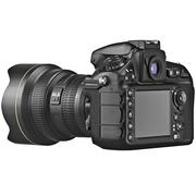 DSLR photo camera, LCD display - stock illustration