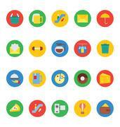 Hotel and Restaurant Colored Vector Icons Set - stock illustration