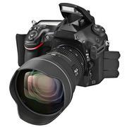 Digital camera, lens, open flash - stock illustration