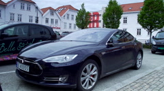 Tesla electric car in Stavanger Norway Stock Footage