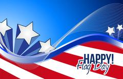 happy flag day us patriotic background - stock illustration