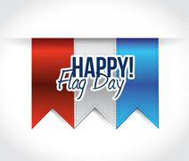 happy flag day us red, white and blue banners - stock illustration