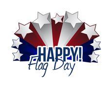 happy flag day us stars illustration design - stock illustration