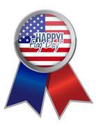 happy flag day us ribbon illustration - stock illustration