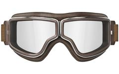 Aviator goggles in vintage style, front view - stock illustration