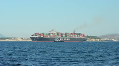 Loaded Container Cargo Ship Leaves the Port Stock Footage