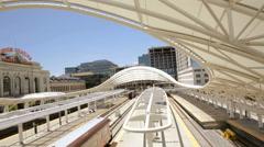 Train platform of Union Station in Denver, Colorado. Stock Footage