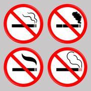 No Smoking, Cigarette Prohibited Symbols - stock illustration
