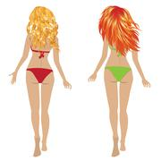 Back View of Girls in Bikini - stock illustration
