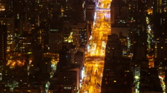 Aerial Night View Time Lapse City of Taipei, Taiwan with Heavy Traffic Closeup Stock Footage