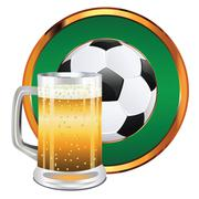 Beer and Soccer Ball Stock Illustration