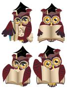 Brown Wise Owl - stock illustration