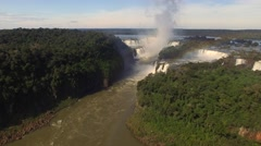 Aerial View of Iguazu Falls in Brazil and Argentina Stock Footage