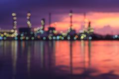 Blurred Oil refinery - stock photo