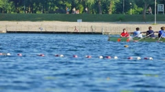 Rowers at Lake Jarun in Zagreb Stock Footage