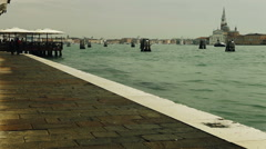 After the rain. Riva degli Schiavoni is a water front in Venice, Italy. Stock Footage
