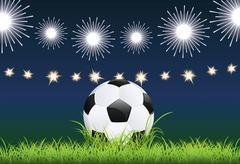 Soccer Ball and Night Stadium - stock illustration