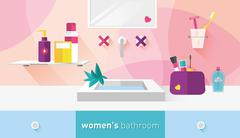 vector illustration bathroom for women - stock illustration