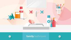 vector illustration of a family bathroom - stock illustration