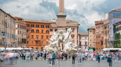 Italy, Rome Piazza Navona, the fountain of four rivers timelapse designed by G.L Stock Footage