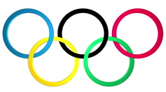 Olympic rings with appearance and disappearance.  Alpha matte. Stock Footage