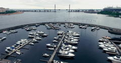 Flying over the yachts overall view Stock Footage