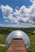 Ceretto Winery with View Point, Clouds and  Vineyards - stock photo