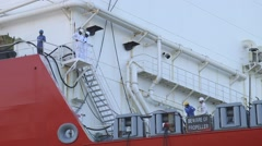 Workers On The Deck Of A Ship Stock Footage