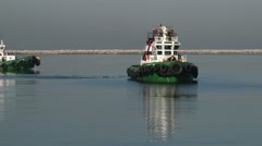 Two Tugboats Sailed At The Harbor Stock Footage