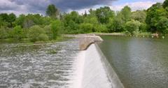 Water Flows Over Black Rapids Locks Stock Footage