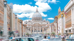 Rome, Italy, Vatican timelapse: St. Peter's Basilica in Vatican City State view - stock footage