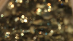 Transparent jewelry imitation stones. In/Out of focus. Stock Footage