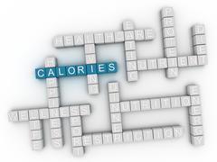 3d image Calories word cloud concept Stock Illustration