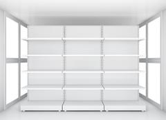 Exhibition space, Empty retail shelves - stock illustration