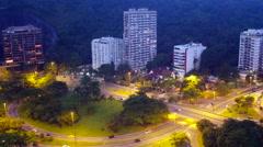 Aerial Rodrigo de Freitas lake and neighbourhood Rio de Janeiro Stock Footage