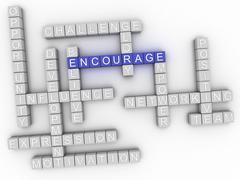 3d image Encourage word cloud concept Stock Illustration